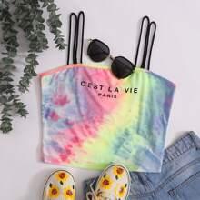 Slogan Graphic Tie Dye Cami Top