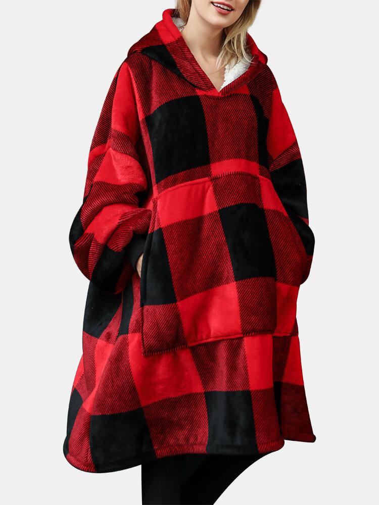 Women Flannel Plaid Fleece Lined Warm Wearable Blanket Lounge Oversized Hoodie Sweatshirt With Large Front Pocket