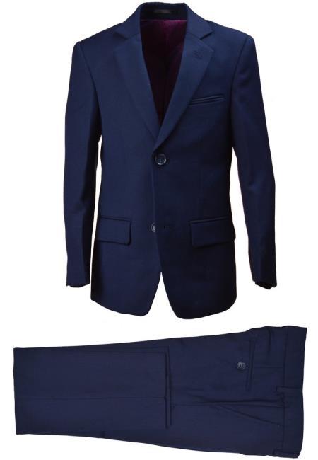 Husky Boys Wool Blend Navy Suit