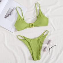 Rib Ring Linked Tanga Bikini Swimsuit