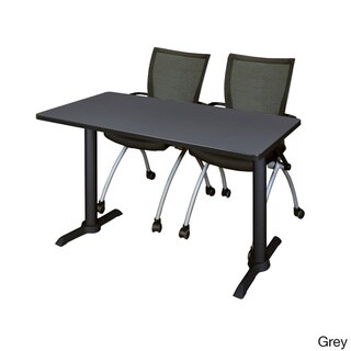 Cain 42-inch x 24-inch Training Table With 2 Black Apprentice Chairs (Grey)