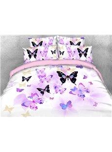 Purple Butterflies Soft Lightweight 3D United States Duvet Cover Set 4-Piece Bedding Set