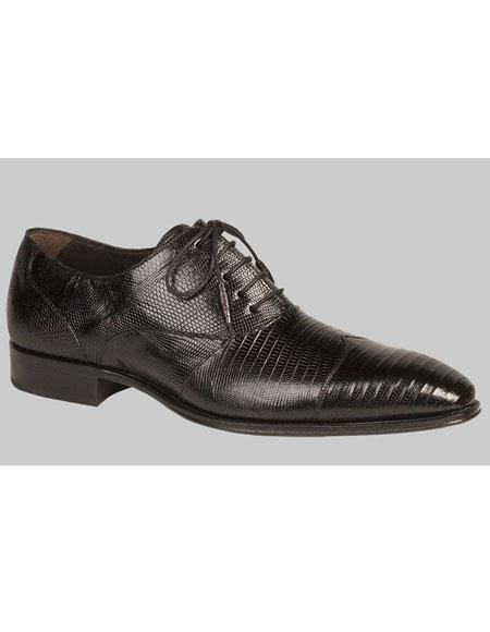 Mens Black Lace Up Lizard Cap Toe Leather Shoes Mezlan Brand