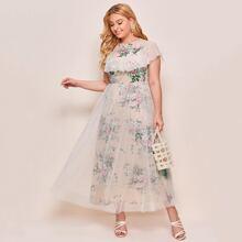 Kleid mit Blumen Muster und Kontrast Netzstoff