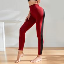 Contrast Panel Wide Waistband Sports Leggings