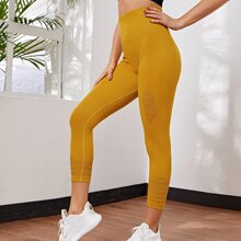 Wide Band Waist Seamless Cropped Sports Leggings