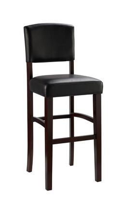 Monaco Collection 0218VESP-01-KD-U Bar Height Stool with Espresso Finished Solid Wood Legs  Footrest Support  Low Backrest  Maple Wood Frame and