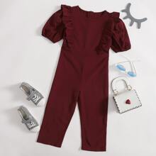 Toddler Girls Ruffle Trim Solid Jumpsuit