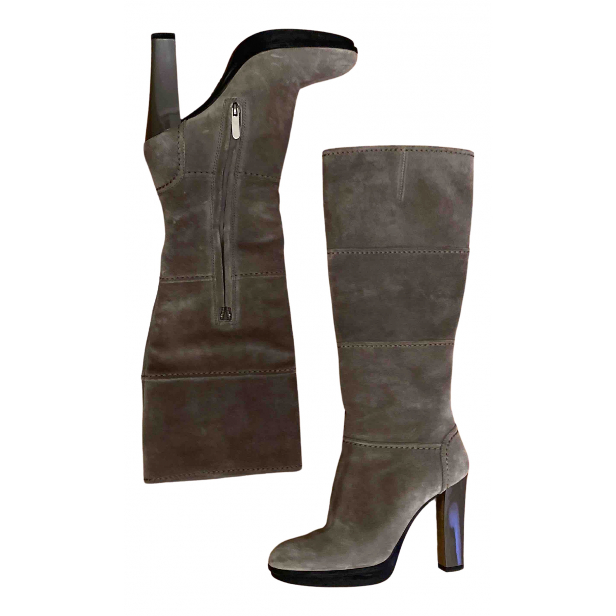 Tod's N Grey Suede Boots for Women 37.5 IT