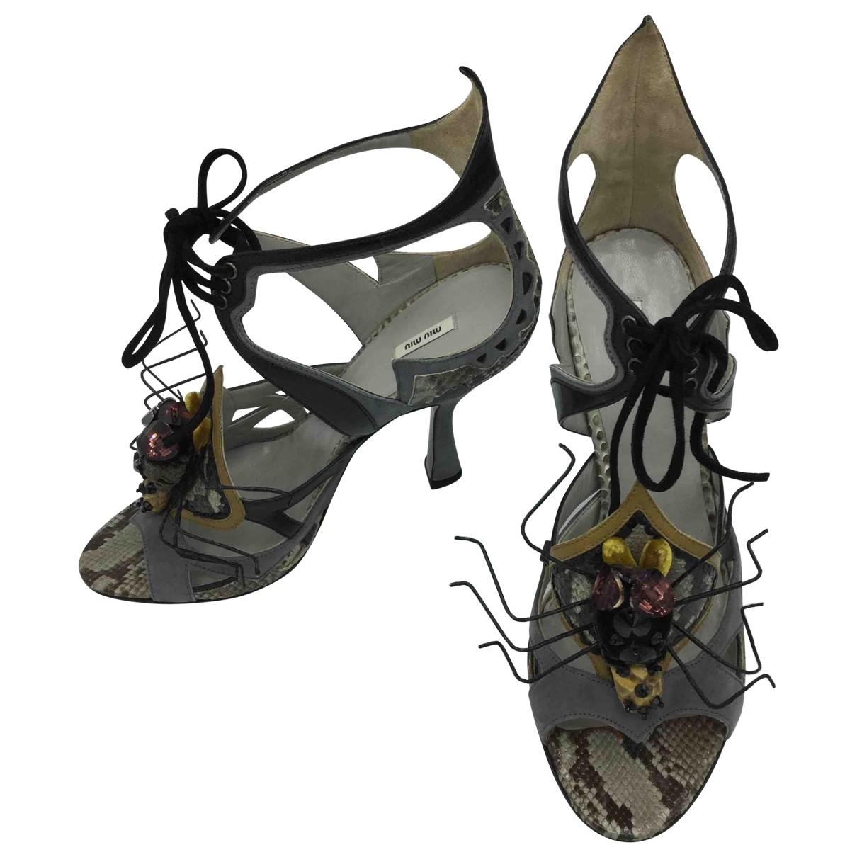 Miu Miu - Sandales   pour femme en cuir - gris