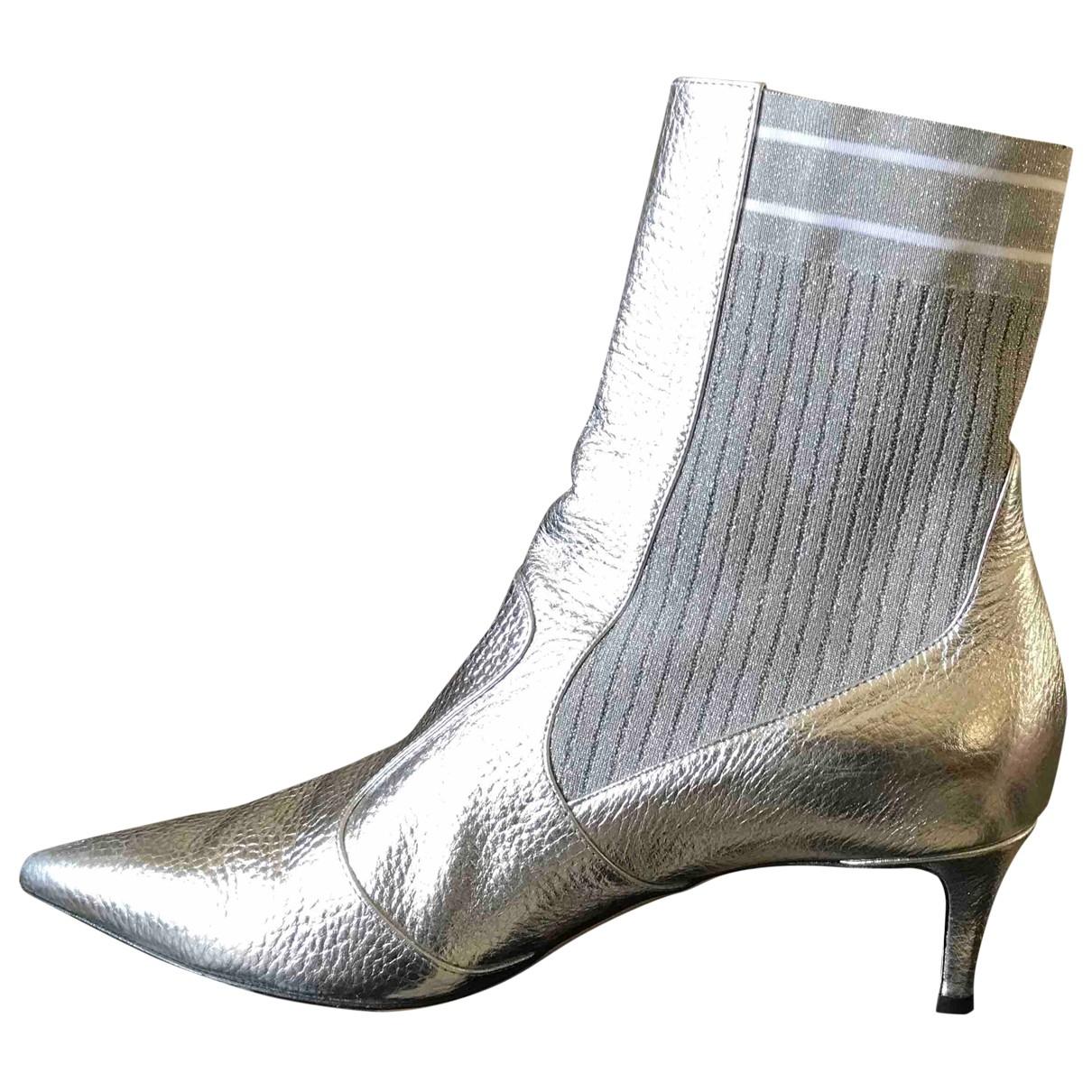 Fendi - Boots   pour femme en cuir - argente