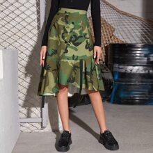 Camo Button Front Asymmetrical Ruffle Hem Skirt