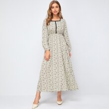 Contrast Binding Ditsy Floral A-line Dress
