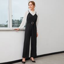 O-ring Belted Straight Leg Cami Jumpsuit
