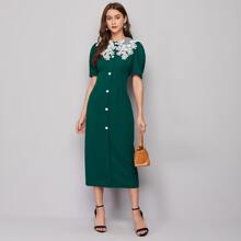 Mesh Embroidery Detail Puff Sleeve Dress