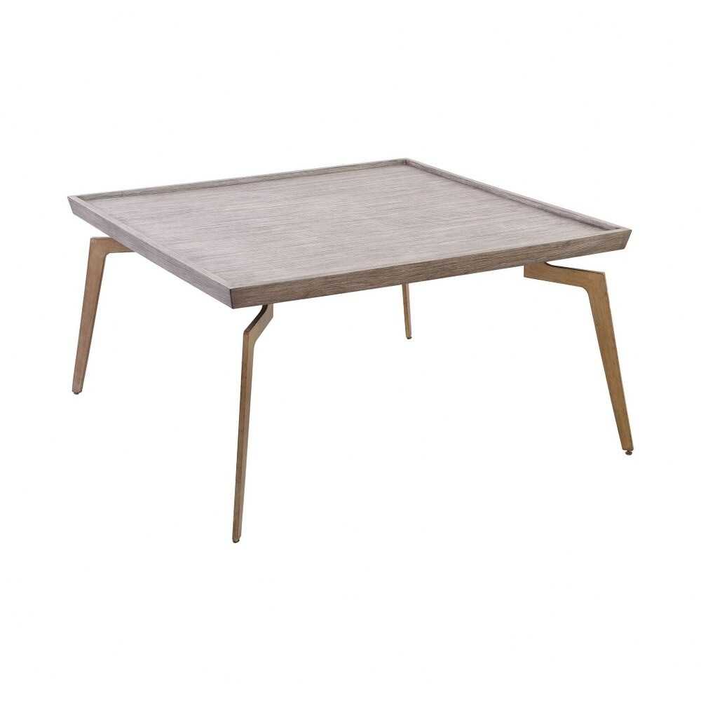 Square Coffee Table in Soft Gold Grey Birch Veneer finish with 4-Legs - Material Birch Veneer Iron (Soft Gold Grey Birch Veneer - Iron)
