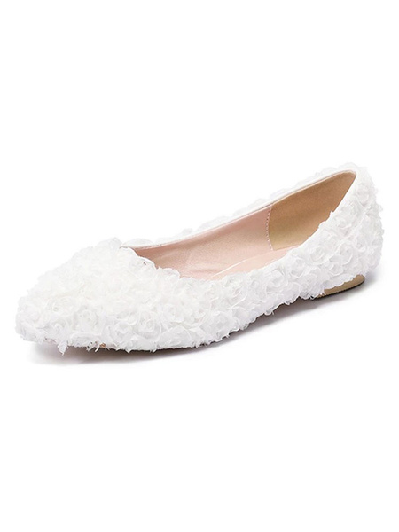 Milanoo Pink Bridesmaid Shoes Pointed Toe Flowers Detail Slip On Wedding Flats