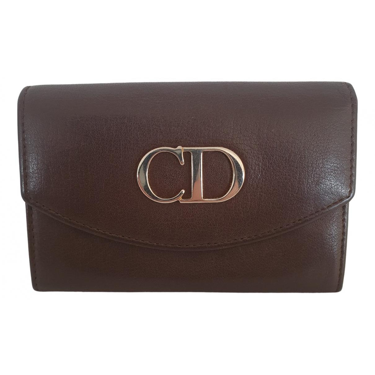 Dior - Portefeuille   pour femme en cuir - marron