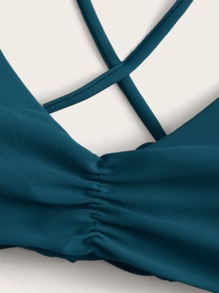 Ruched Criss Cross Bikini Top