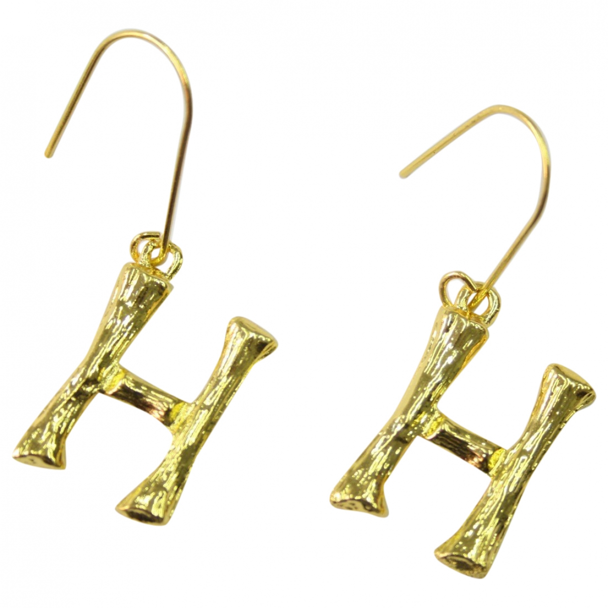 Non Signe / Unsigned Motifs Lettres OhrRing in  Gold Metall