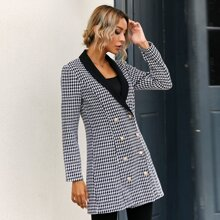 Houndstooth Print Double Breasted Blazer