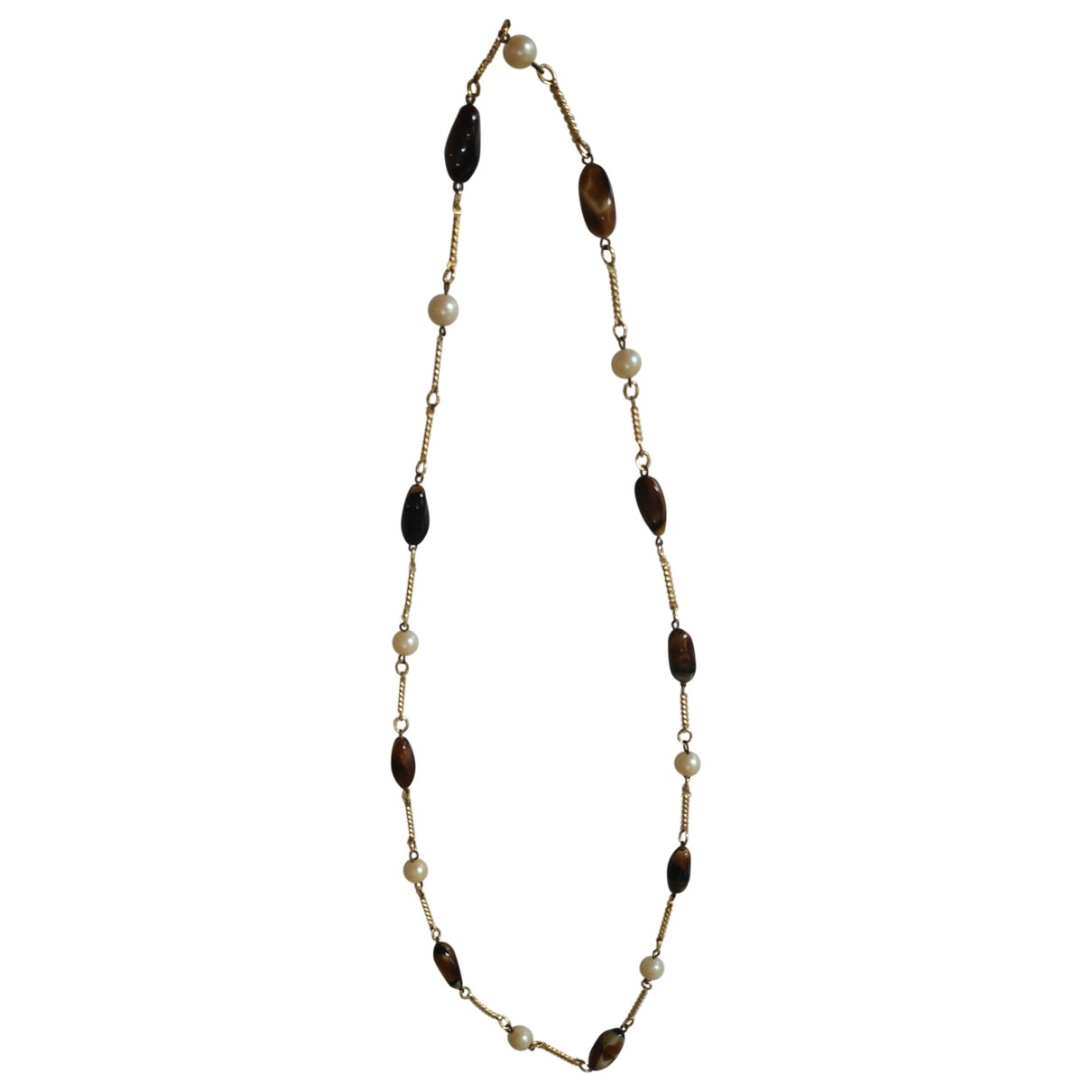 Non Signé / Unsigned Nacre Brown Metal Long necklace for Women \N