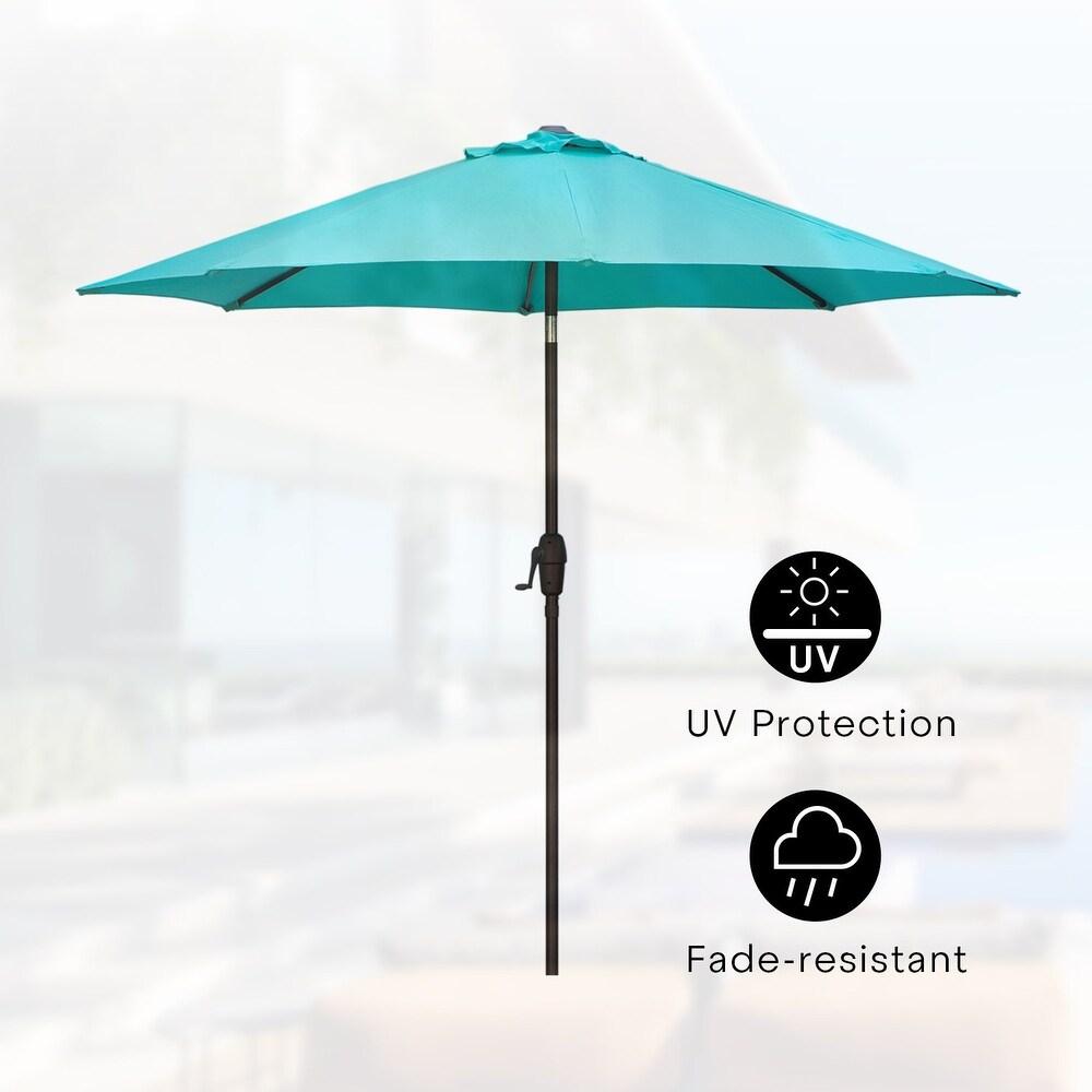 Amarantos 9 ft patio Umbrella Market Umbrella with Sturdy Ribs, Push Button Tilt and Crank(Sky Blue) (Blue)