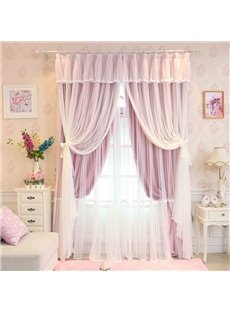 Princess Style Pink Sheer and Cloth Sewing Together Blackout Custom Curtain