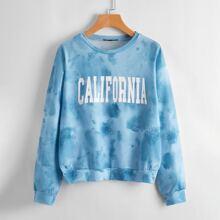 Drop Shoulder Letter Graphic Tie Dye Sweatshirt