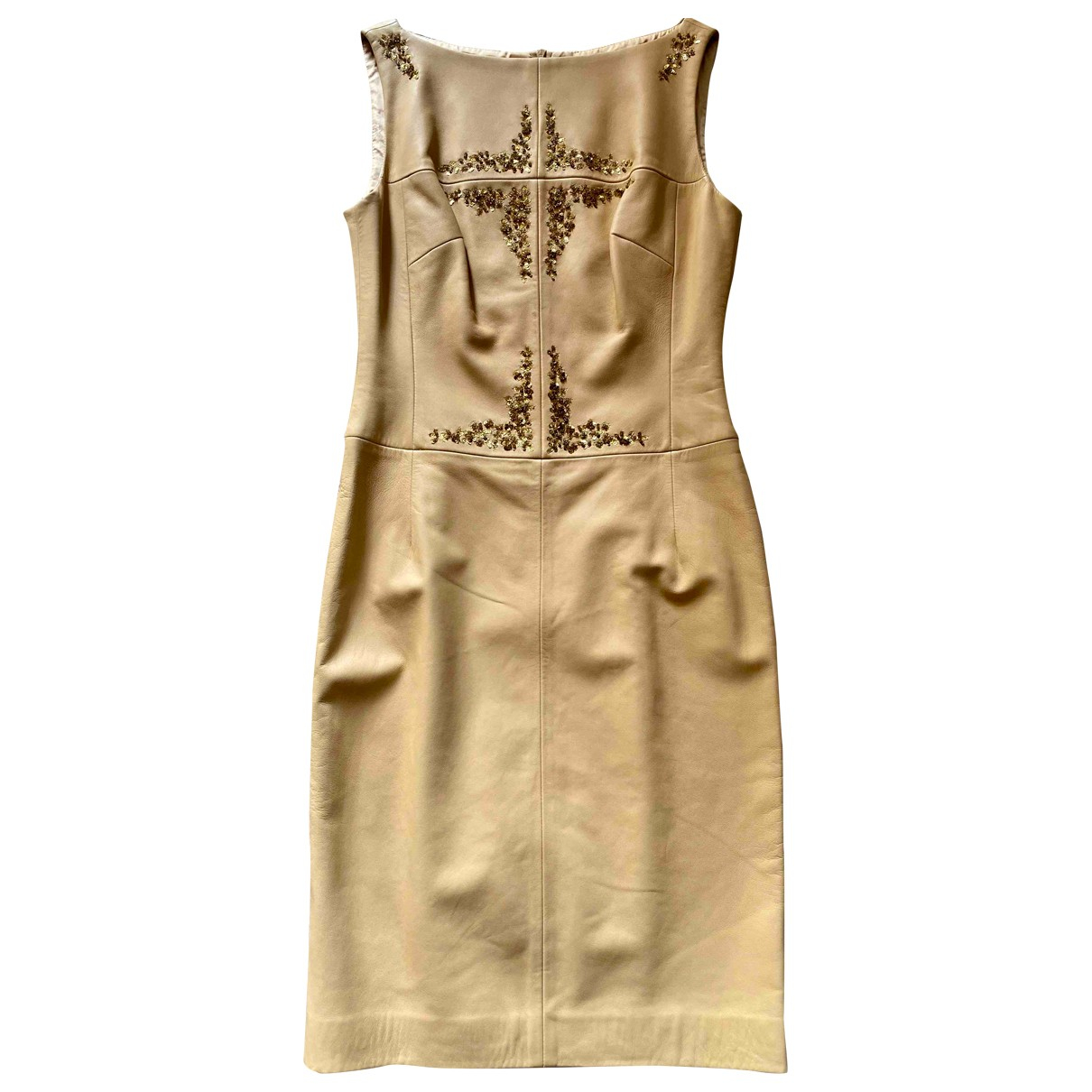 Escada \N Kleid in  Beige Leder
