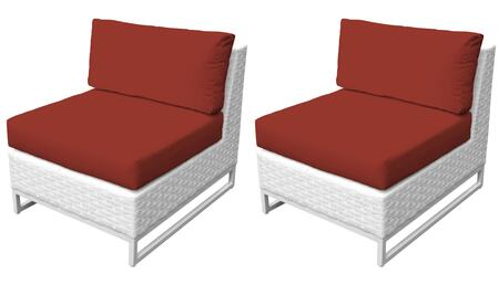 Miami TKC047b-AS-DB-TERRACOTTA Set of 2 Armless Chairs - Sail White and Terracotta