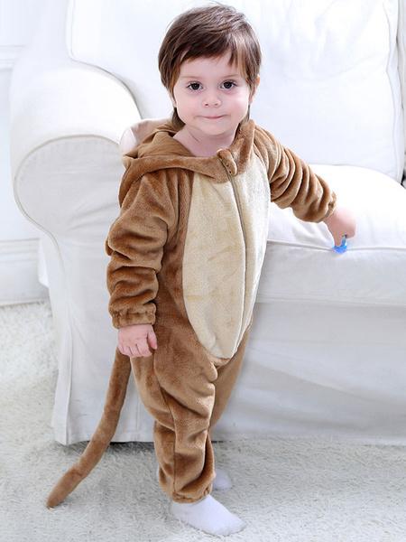Milanoo Monkey Costume Halloween Toddlers Brown Animal Flannel Kids Jumpsuits
