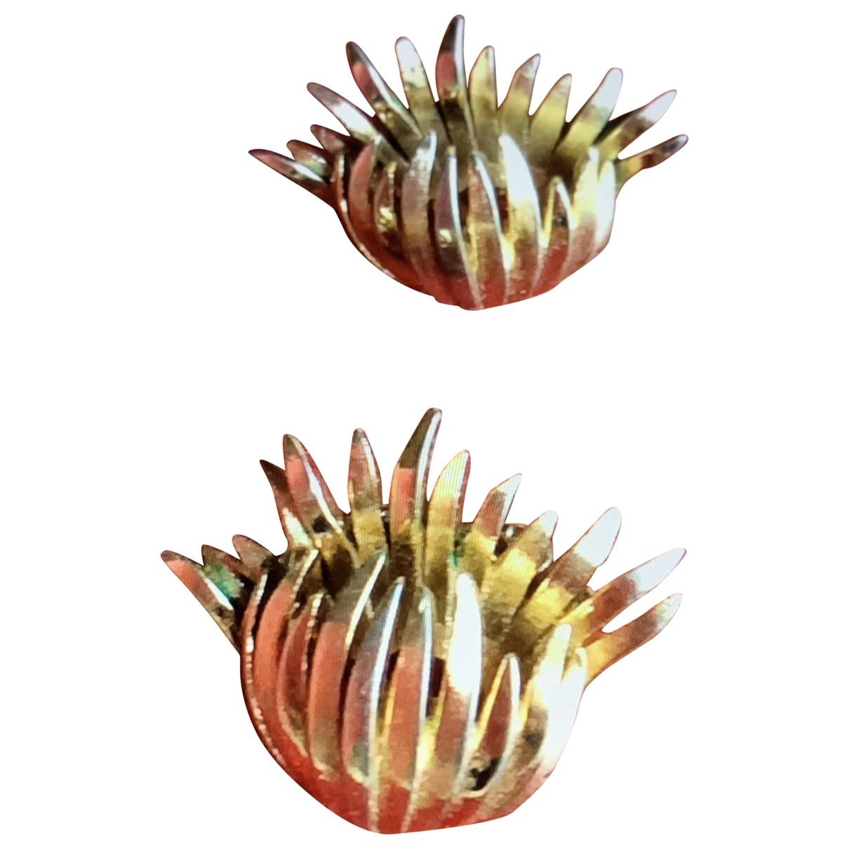 Trifari - Boucles doreilles   pour femme en metal - dore
