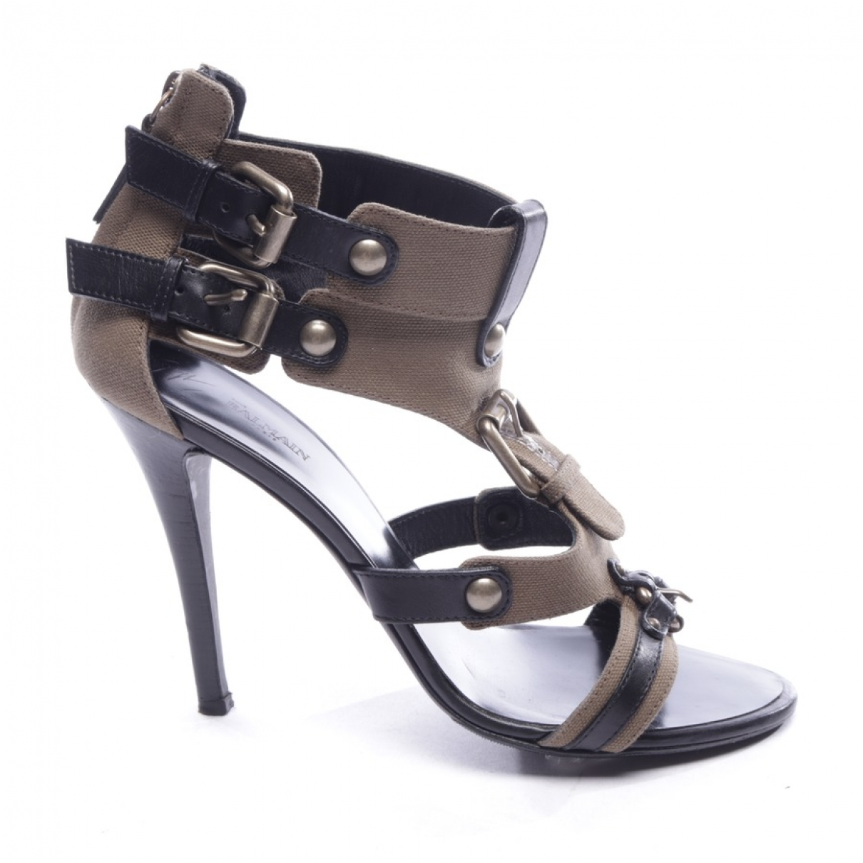 Balmain - Sandales   pour femme en cuir - kaki