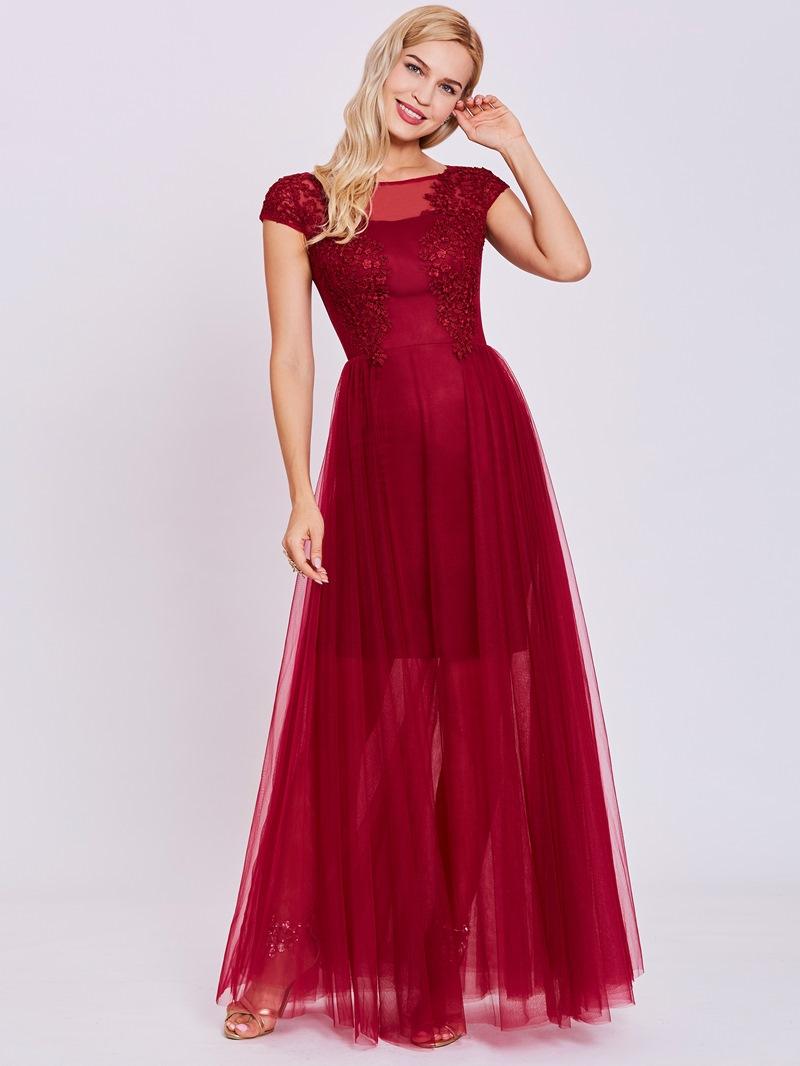 Ericdress A Line Scoop Neck Lace Appliques Evening Dress