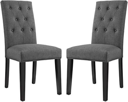 Confer Collection EEI-3325-GRY Set of 2 Dining Side Chairs with Pine Wood Frame  Non-Marking Foot Caps  Solid Rubberwood Tapered Legs  Dense Foam