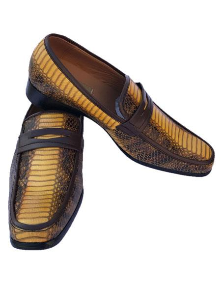 Mens Yellow Bronze Python Skin Slip-On Style Casual Dress Loafer Shoes