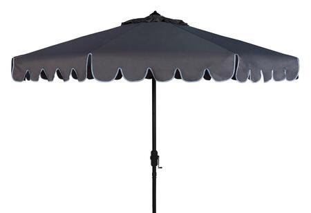 PAT8010B Venice Single Scallop 9Ft Crank Outdoor Push Button Tilt Umbrella in