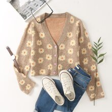 Allover Floral Button Up Crop Cardigan