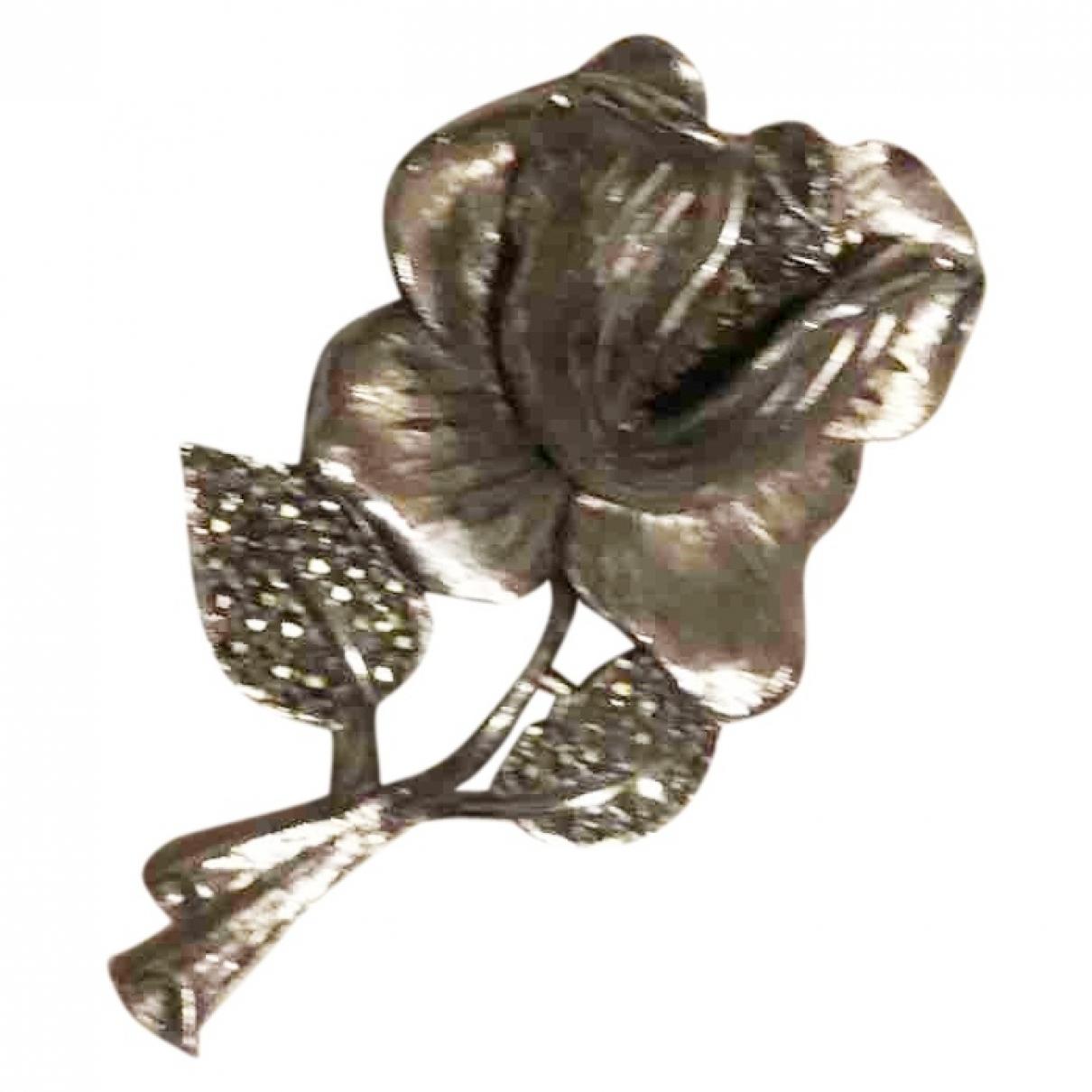 Broche Motifs Floraux en Metal Plateado Non Signe / Unsigned