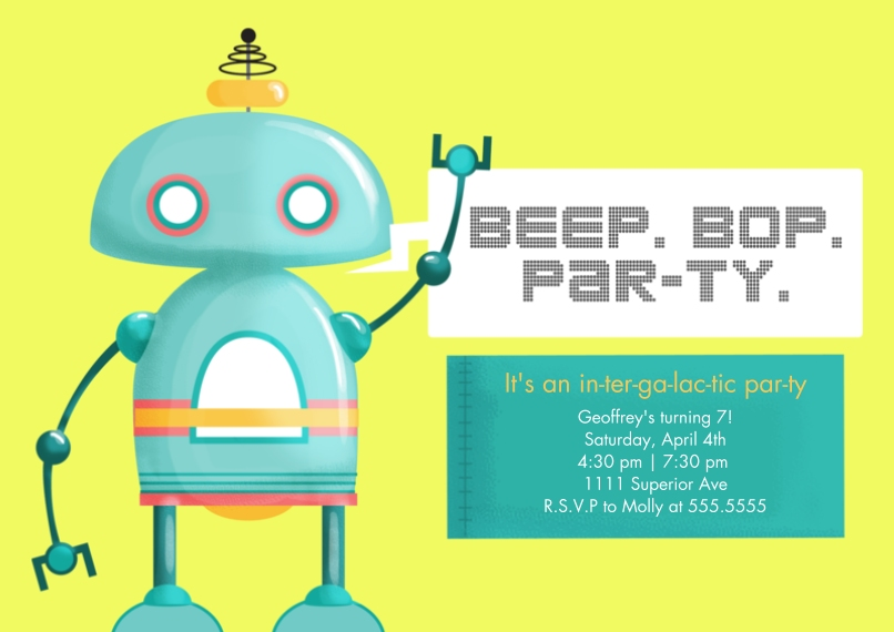 Kids Birthday Party Invites 5x7 Cards, Standard Cardstock 85lb, Card & Stationery -Intergalactic Party