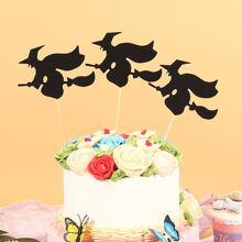 3 Stuecke Tortenaufsatz mit Halloween Hexe Design
