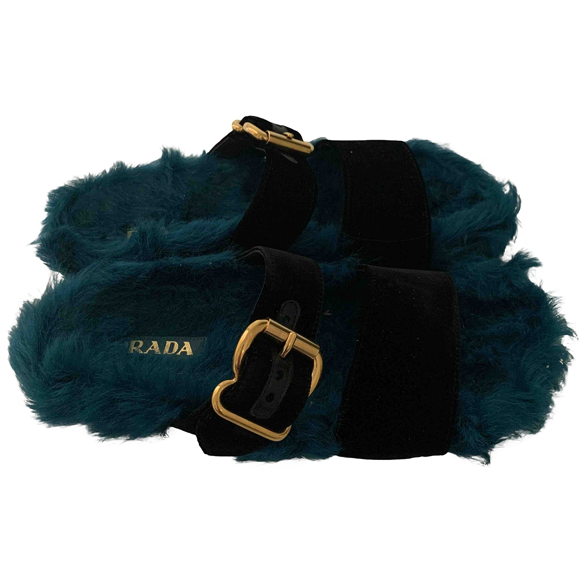 Prada \N Green Fur Sandals for Women 40 EU