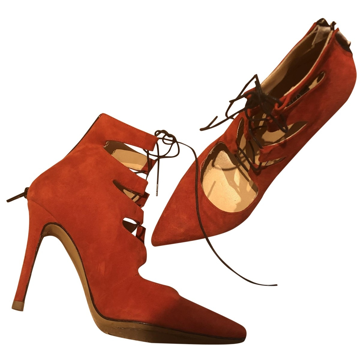Non Signe / Unsigned \N Pumps in  Rot Leder