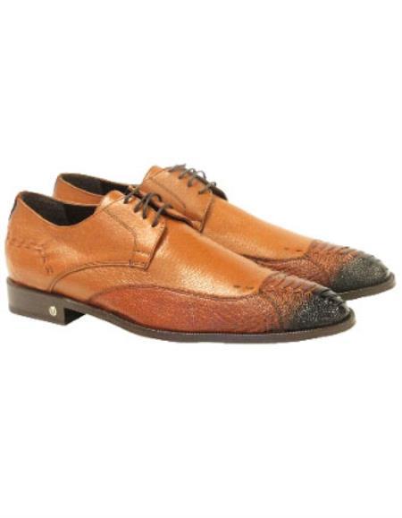 Men's Faded Cognac Vestigium Genuine Ostrich Leg Derby Shoes