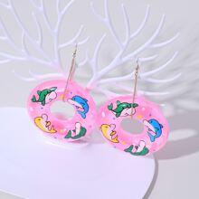 Dolphin Swimming Ring Drop Earrings