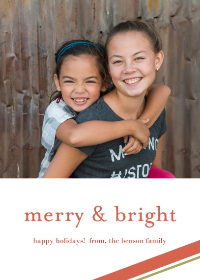 Christmas Photo Cards 5x7 Cards, Premium Cardstock 120lb, Card & Stationery -Merry & Bright Holiday