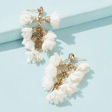 Flower Branch Drop Earrings 1pair