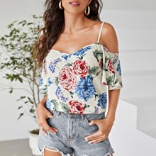 Camisa de manga con volante de hombros descubiertos floral