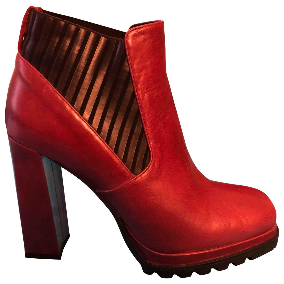 Gianni Marra - Bottes   pour femme en cuir - bordeaux